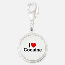 Cocaine Silver Round Charm