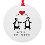 Love For Birds Penguins Round Ornament