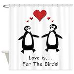 Love For Birds Penguins Shower Curtain