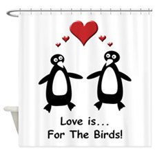 Love For Birds Penguins Shower Curtain