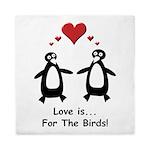Love For Birds Penguins Queen Duvet
