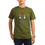 Love For Birds Penguins Organic Men's T-Shirt (dar