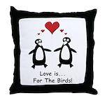 Love For Birds Penguins Throw Pillow