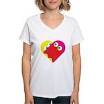 Ghost Heart Women's V-Neck T-Shirt
