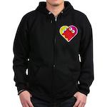 Ghost Heart Zip Hoodie (dark)