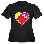 Ghost Heart Women's Plus Size V-Neck Dark T-Shirt