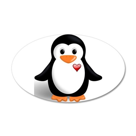 penguin with heart 20x12 Oval Wall Decal