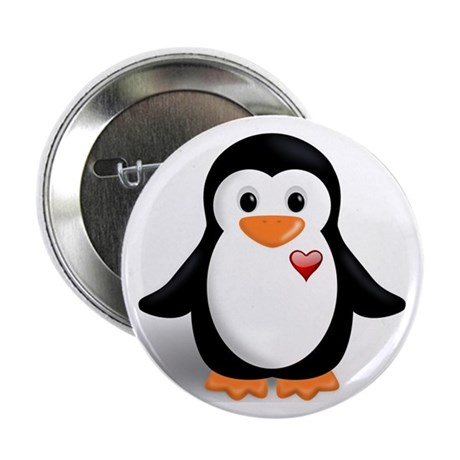 """penguin with heart 2.25"""" Button (10 pack)"""