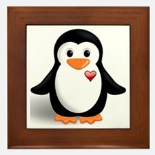 penguin with heart Framed Tile