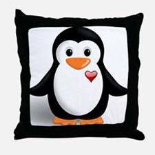 penguin with heart Throw Pillow
