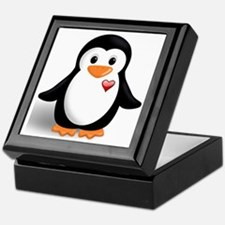 penguin with heart Keepsake Box