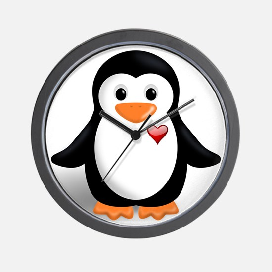 penguin with heart Wall Clock