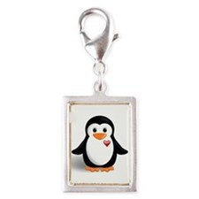 penguin with heart Silver Portrait Charm