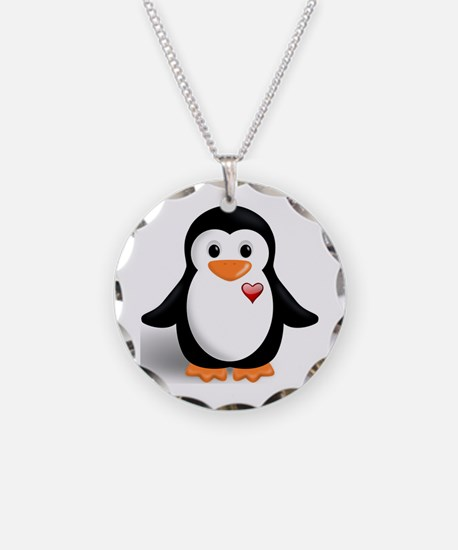 penguin with heart Necklace Circle Charm
