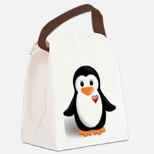 penguin with heart Canvas Lunch Bag