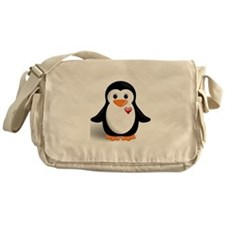 penguin with heart Messenger Bag
