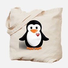 penguin with heart Tote Bag