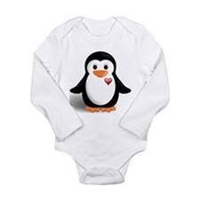 penguin with heart Long Sleeve Infant Bodysuit
