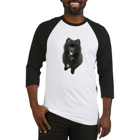 Adorable Black Pomeranian Puppy Dog Baseball Jerse