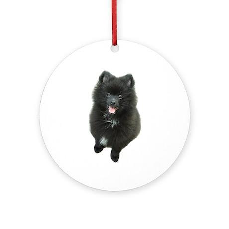 Adorable Black Pomeranian Puppy Dog Ornament (Roun