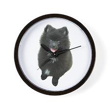 Adorable Black Pomeranian Puppy Dog Wall Clock