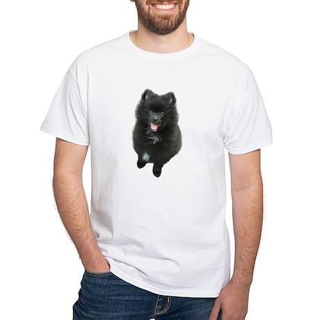 Adorable Black Pomeranian Puppy Dog White T-Shirt