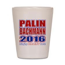 Bachmann Palin President 2016 Crazy Back Shot Glas