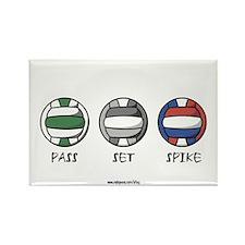 Volleyballs: Pass Set Spike Rectangle Magnet