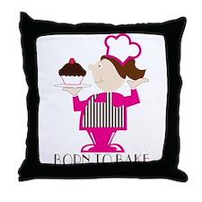Born Cupcake Baker Throw Pillow