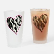 Zebra Heart Drinking Glass