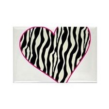 Zebra Heart Rectangle Magnet
