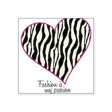 "Zebra Fashion Passion Square Sticker 3"" x 3"""