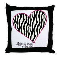 Zebra Print Heart Throw Pillow