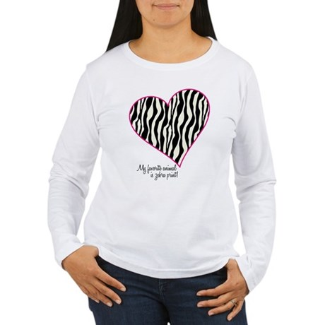 Zebra Print Heart Women's Long Sleeve T-Shirt