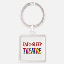 Eat Sleep Theatre Square Keychain