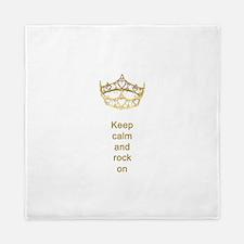 Keep calm rock on Queen Hearts Crown Queen Duvet