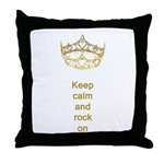Keep calm rock on Queen Hearts Crown Throw Pillow