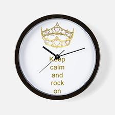 Keep calm rock on Queen Hearts Crown Wall Clock