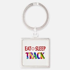 Eat Sleep Track Square Keychain