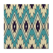Native Chieftain Pattern Tile Coaster