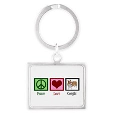 Peace Love Corgis Landscape Keychain
