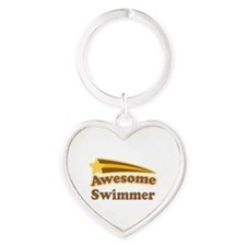 Awesome Swimmer gift Heart Keychain