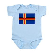 Flag of Aland Islands 4 Infant Bodysuit