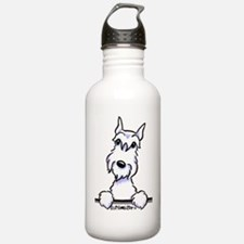 White Schnazuer Paws Up Water Bottle