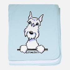 White Schnazuer Paws Up baby blanket
