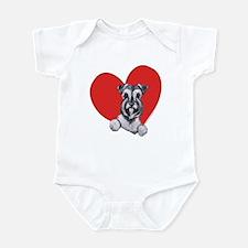 Schnauzer in Heart Infant Bodysuit