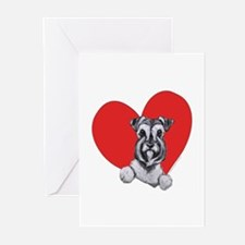 Schnauzer in Heart Greeting Cards (Pk of 20)