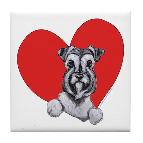 Schnauzer in Heart Tile Coaster