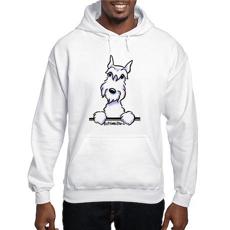 White Schnazuer Paws Up Hooded Sweatshirt
