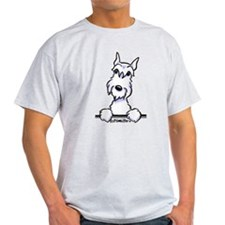 White Schnazuer Paws Up T-Shirt